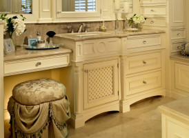 Hobe Sound, Florida residence master bathroom designed by Keith Levine of Schrapper's Fine Cabinetry and Design in Jupiter, Florida.